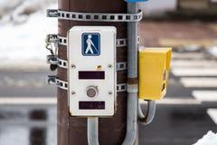 Fußgängersignalknopf für Blinde Stockfotografie