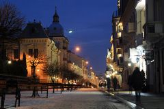 Fußgängerstraße in Chernivtsi, Ukraine stockfotos