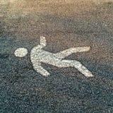 Fußgängerstraßenschild auf einem Asphaltboden Stockfotografie