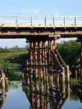 Fußnote der hölzernen Brücke Stockfoto