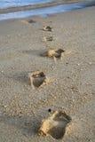 Fußspur auf Strand Stockfoto