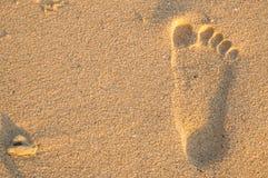 Fußspur auf Strand lizenzfreie stockfotografie