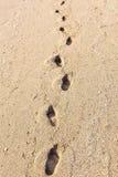 Fußspuren auf dem sandigen Strand Lizenzfreies Stockfoto