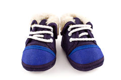 Fußturnschuhschuhe des blauen Schätzchens Lizenzfreie Stockfotos