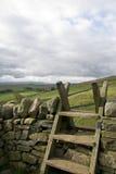 Fußweg über Steinwand. Lizenzfreie Stockfotos