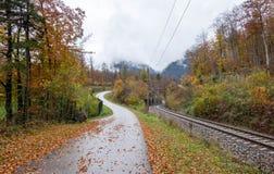 Fußweg entlang Eisenbahn mit niemandem während der bunten Herbstsaison stockfoto