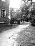 Fußweg im alten Yard Stockbild