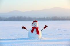 Fußweg im Holz Weihnachtsschneemann, der roten Hut, Schal und Handschuhe trägt Hohe Berge Lizenzfreies Stockfoto