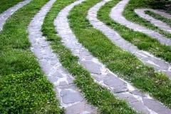 Fußweg mit Landschaftsgestaltungsentwurf des grünen Grases lizenzfreies stockbild