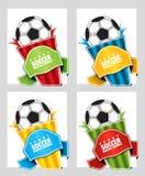 Fußball Spracheblase auf einem Sportthema Preisschablone für Katalog mit Raum für Text lizenzfreie abbildung