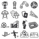 Fu?ball- und Fu?ballsportikonensatz lizenzfreie abbildung