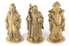 Fu Lu Shou - deuses auspiciosos chineses da trindade Foto de Stock Royalty Free
