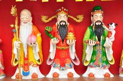 Fu Lu Shou (Hok Lok Siu) statue. Good Fortune (Fu), Prosperity (Lu), and Longevity (Shou royalty free stock images