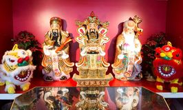 Fu lu shou. Statues of chinese traditional god represent long live, prosper and good luck in china restaurant royalty free stock image