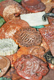 Fu lu Shou symbol carved in ornate object, Panjiayuan Market, Beijing, China. BEIJING-JAN.26. Fu lu Shou symbol carved in ornate object, which is the Taoist royalty free stock photography