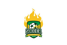 Fußball-Ausweis Logo Design Sport Team Identity Football Label Lizenzfreies Stockbild