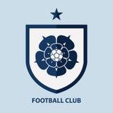 Fußball-Fußball-Ausweis Logo Design Template Sportteamidentität Stockfotos