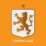 Fußball-Fußball-Ausweis Logo Design Template Sportteamidentität Lizenzfreie Stockfotos