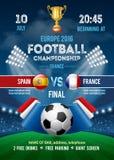 Fußballmeisterschafts-Plakatschablone Lizenzfreie Stockfotografie