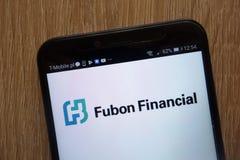 Fubon spólka nadrzędna Pieniężny logo wystawiający na nowożytnym smartphone zdjęcia stock
