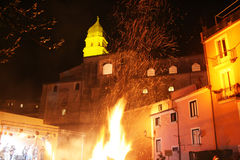 Fucanoli celebration. The celebration of sant'antonio abate at campagna initaly with many bonfire in the city.january 2012 Stock Photo