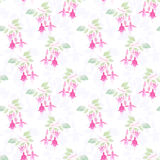 Fuchsia flowers seamless floral pattern on white background Royalty Free Stock Photo