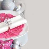 Fuchsia Pink Christmas Table Setting Royalty Free Stock Photo