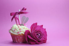 Fuchsia Pink Theme Cupcake With Shoe And Heart Decoration Royalty Free Stock Photo