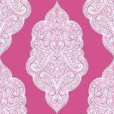 Fuchsia pink and white ornamental seamless pattern. Paisley elements. Ornament. Traditional, Ethnic, Turkish, Indian motifs. Great for fabric and textile Royalty Free Stock Photography