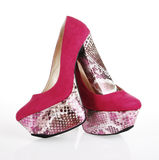 Fuchsia Platform Shoes. On a white background royalty free stock photos