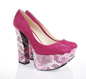 Fuchsia Platform Shoes. On a white background stock image