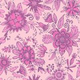 Fuchsia seamless flower pattern Royalty Free Stock Images