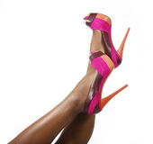 Fuchsia shoes on sexy legs Stock Photos