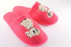 Fuchsia slippers. Isolated on white background Stock Images