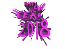 Fuchsiaexplosion 2018 för lyckligt nytt år Royaltyfri Illustrationer
