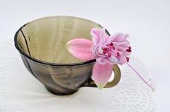 Fuchsiakleurig en zwarte glas kleine Kop Stock Foto