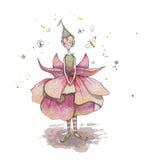Fuchsiakleurig fee met vlinders royalty-vrije illustratie
