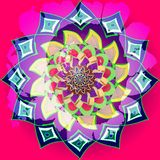 Fuchsiasolros i indisk stil, mandala som är asymmetrisk i ljusa färger gult fuchisa, purpurfärgat, blått som är rosa central blom royaltyfria bilder