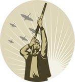 Fucilazione del cacciatore del gioco dell'uccello dell'anatra Fotografia Stock Libera da Diritti