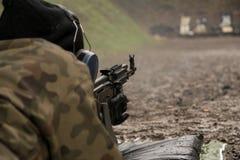 Fucilazione del soldato da una mitragliatrice Immagini Stock