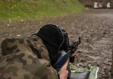Fucilazione del soldato da una mitragliatrice Fotografie Stock Libere da Diritti