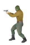 Fucilazione del tiratore con una pistola Fotografie Stock