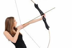 Fucilazione della donna con l'arco Fotografie Stock Libere da Diritti