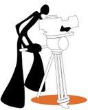 Fucilazione della macchina fotografica dell'uomo dell'ombra Fotografia Stock