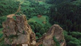 Fucilazione della natura delle rocce degli abeti dal quadrocopter archivi video