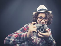 Fucilazione dilettante del fotografo Fotografie Stock