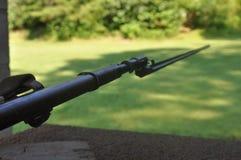 Fucile di Mosin Nagant con una baionetta che indica la destra fotografia stock