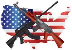 Fucili di assalto con l'illustrazione della bandiera della mappa di U.S.A. Fotografia Stock Libera da Diritti