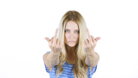 Fuck You ,Angry Woman shows Fuck you Sign ,, White Background. High quality Stock Image