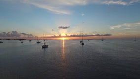 Fuco aereo dal bacino al tramonto dell'oceano archivi video